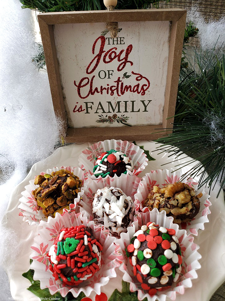 these are chocolate truffles with all kinds of decorated candies on top and nuts