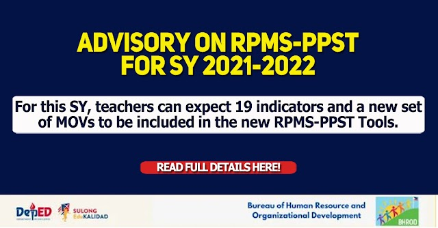 ADVISORY on RPMS-PPST for SY 2021-2022