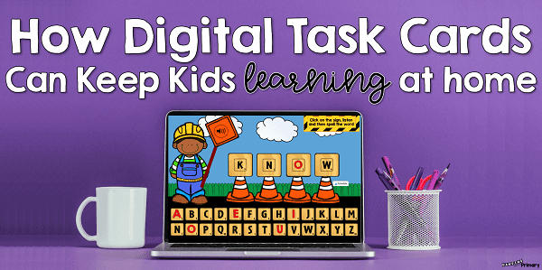 Use digital task cards, like boom cards to keep student engaged and learning while at home.