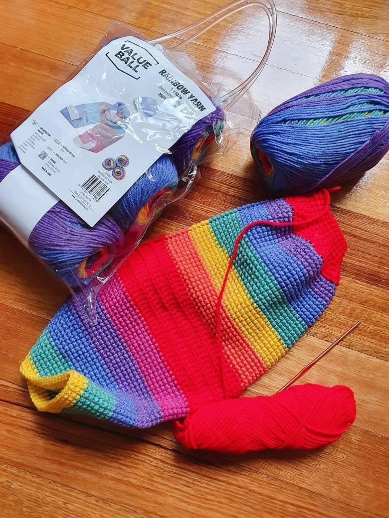 rainbow colored acrylic wool