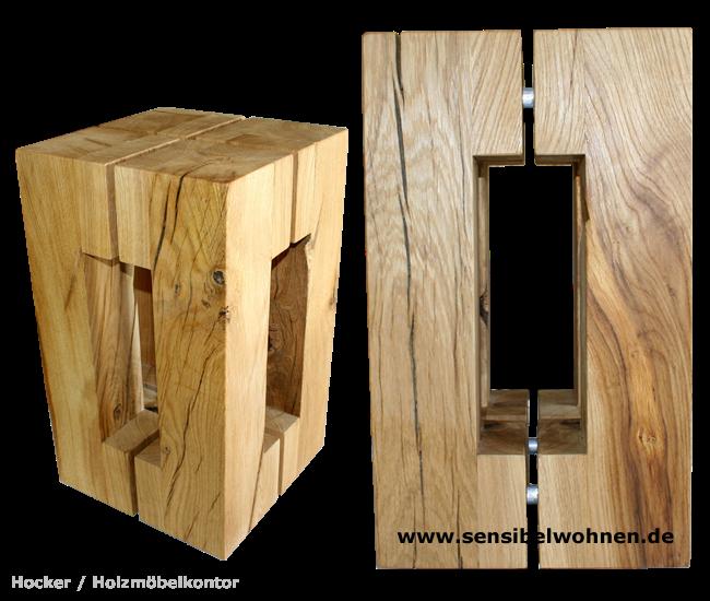 wohnkantine wohnideen vom holzm belkontor holz hocker in frischem design. Black Bedroom Furniture Sets. Home Design Ideas