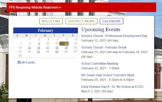No school Friday, vacation week 2/15-2/19