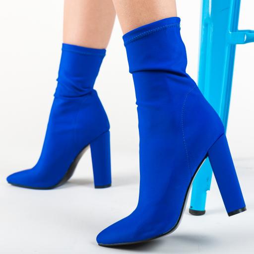Botine elegante albastre cu toc inalte din material impermeabil
