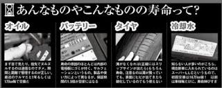 オイル・バッテリー・タイヤ・冷却水の寿命