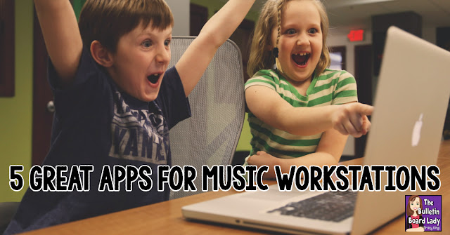 5 Great Apps for Music Workstations- My students love these apps for composing, arranging and practicing rhythms and pitch names.  Try them in your music classroom!