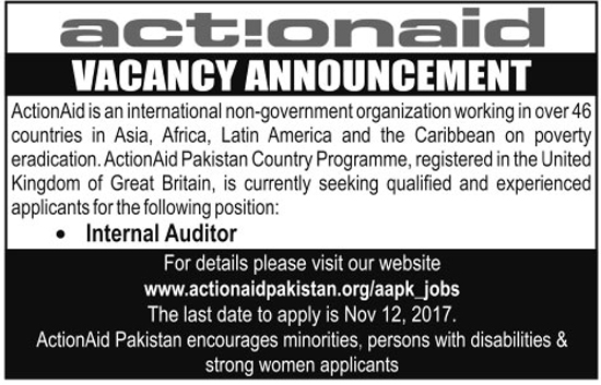Jobs in Actionaid Pakistan NGO October 2017