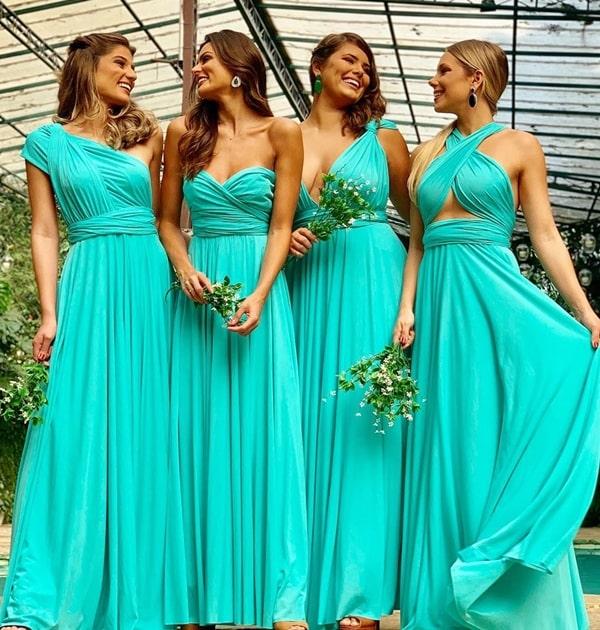 vestido longo verde tiffany madrinha de casamento