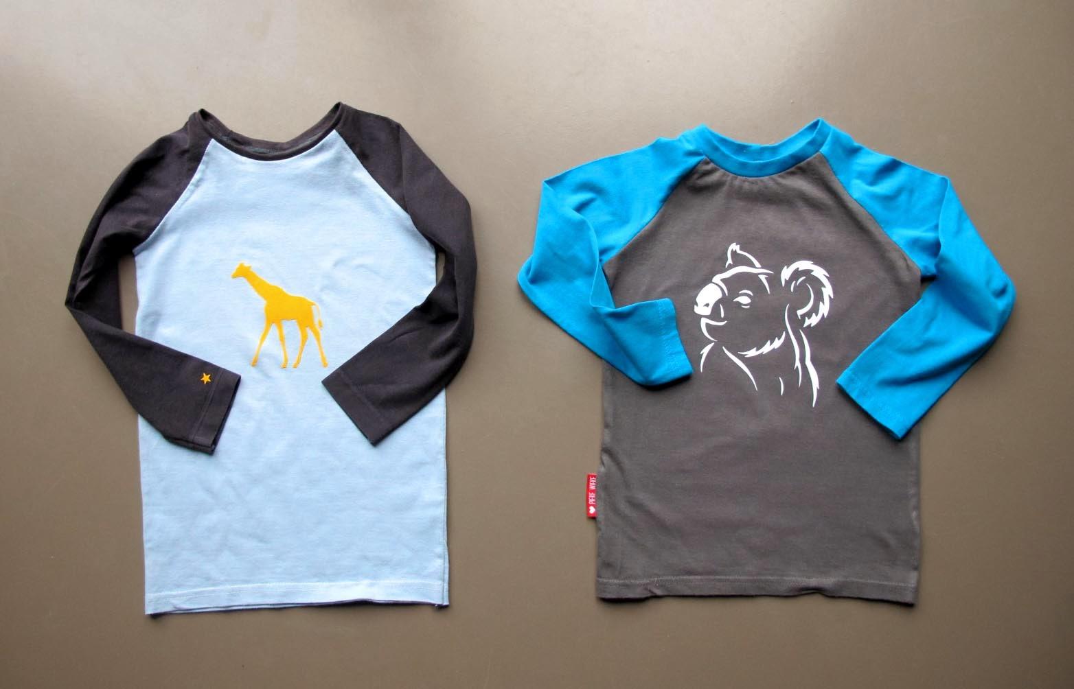 Geflockte t-shirts koala en giraf