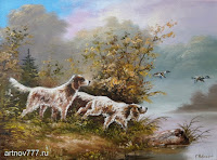 Сеттеры на охоте, картина