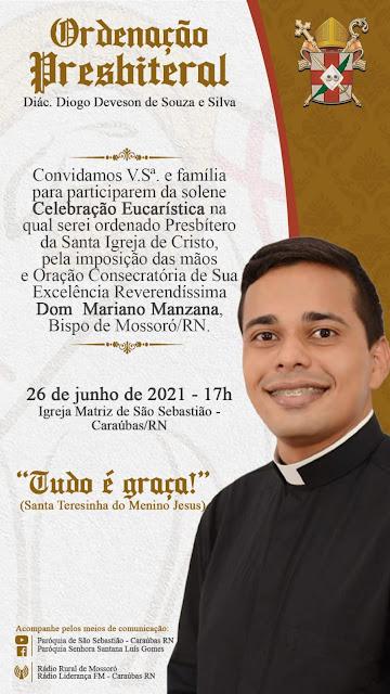 Convite de ordenação ao presbitério do diácono Diogo Deveson