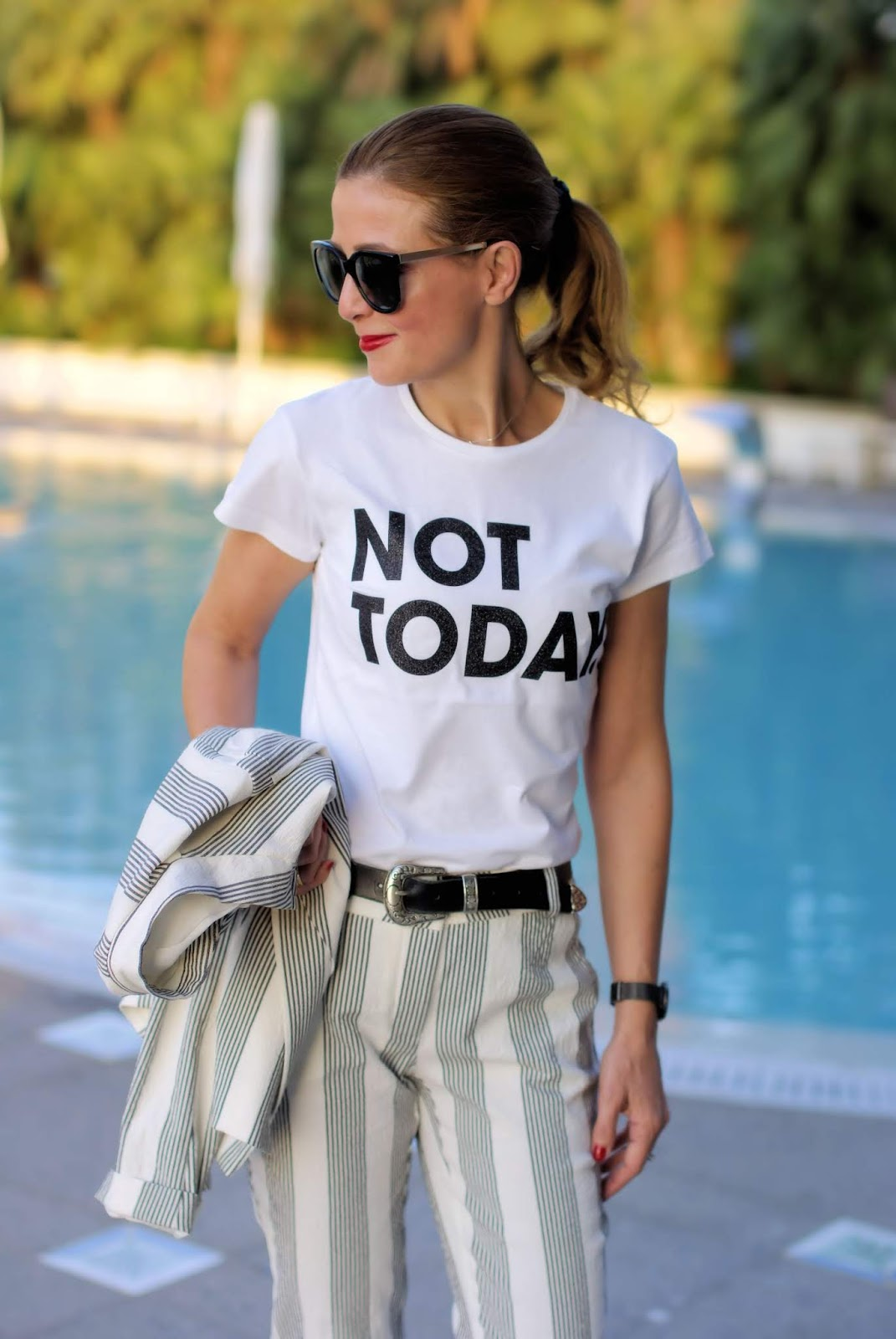 Not today: Ixos black and white striped suit on Fashion and Cookies fashion blog, fashion blogger style