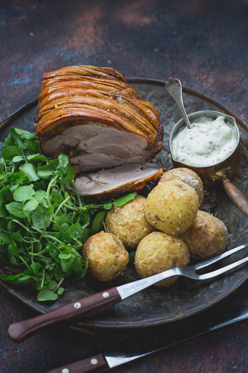 Slow Cooked Pork Shoulder With Salt-baked Potatoes And Watercress