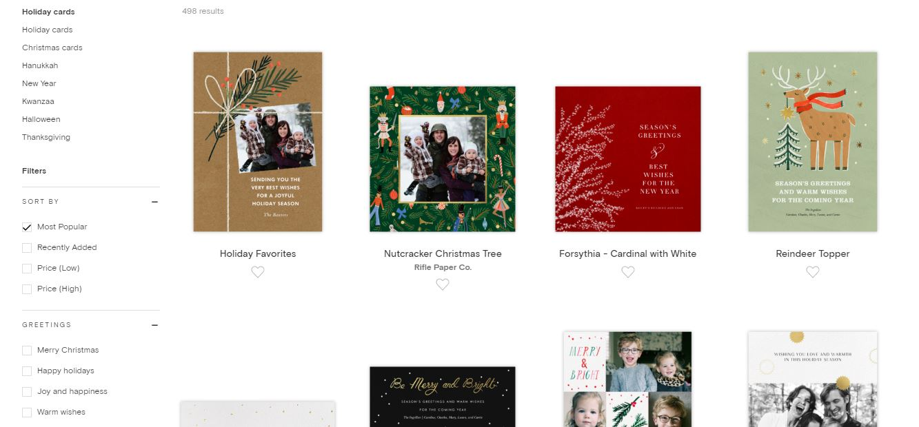 A screenshot of the Paperless Post Christmas card selection