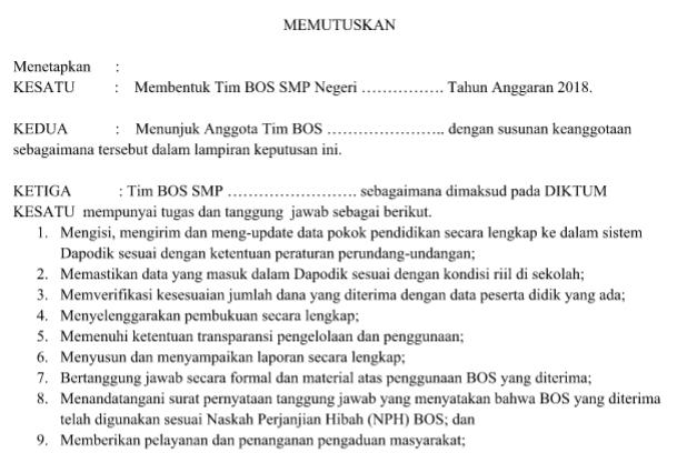 Download SK Tim Manajemen BOS Sekolah/Madrasah 2018
