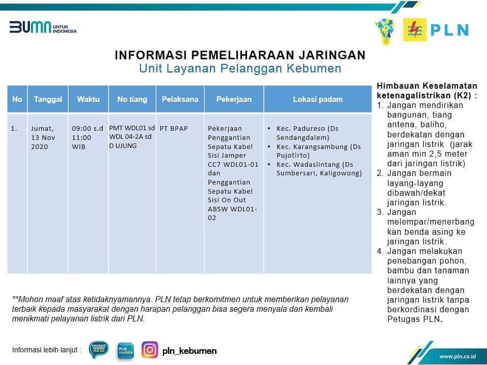Jadwal Pemadaman Listrik Hari ini, Jumat 13 November 2020