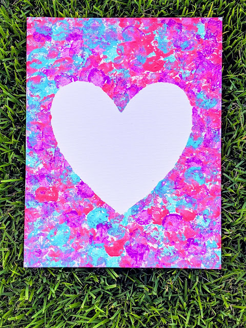 cotton ball heart painting craft for Mother's Day