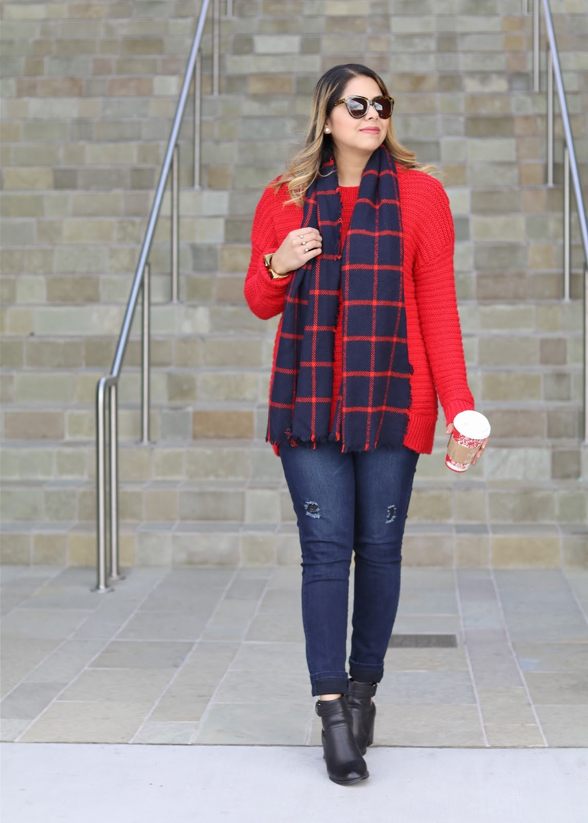 Red Knit sweater outfit, san diego fashion blogger, what to wear in san diego in winter