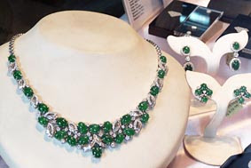 necklace made from green stone and diamonds