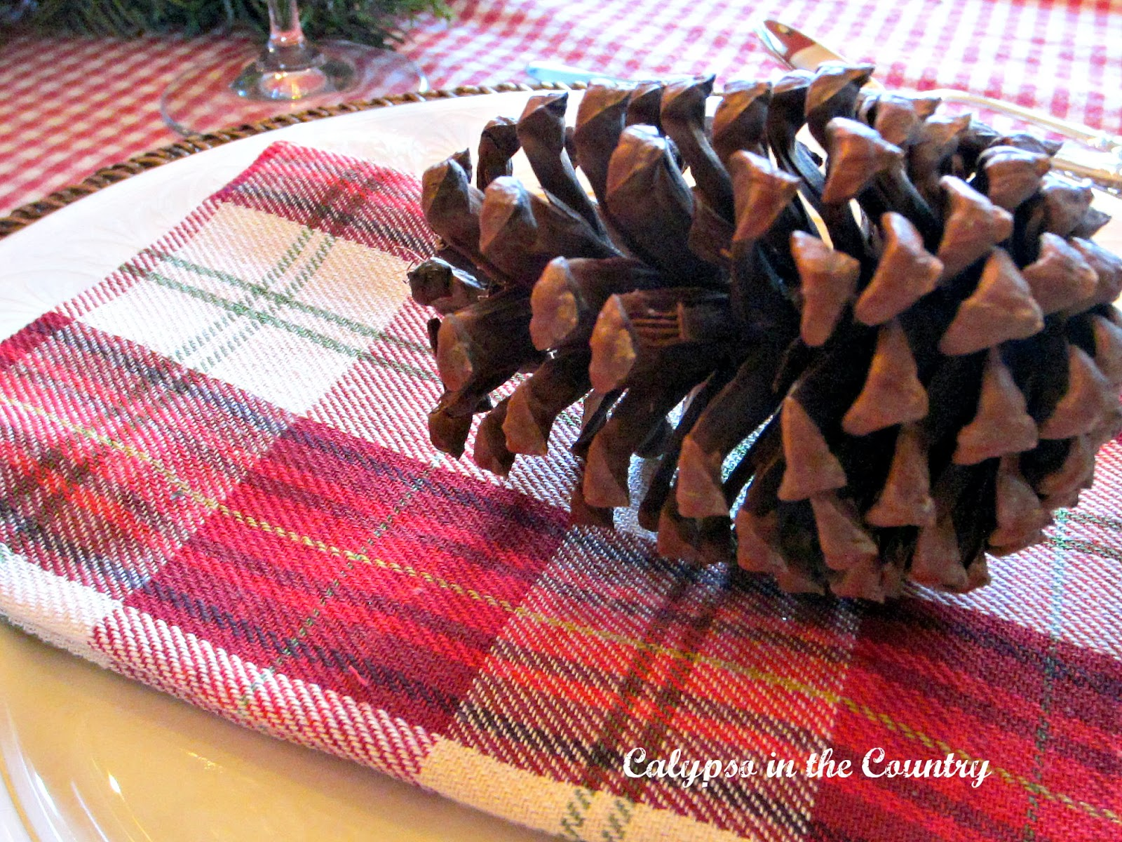 Pine Cones on Christmas Table