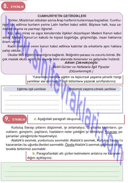 4. Sınıf Türkçe Çalışma Kitabı Cevapları Doku Yayınları Sayfa 39