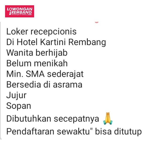 Lowongan Kerja Butuh Cepat Resepsionis Hotel Kartini Rembang