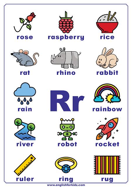 English alphabet poster - letter R