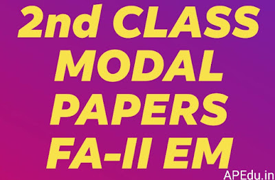2nd Class all subjects  FA-II Modal papers for English medium
