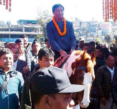 Binay Tamang takes a horse ride in Mirik