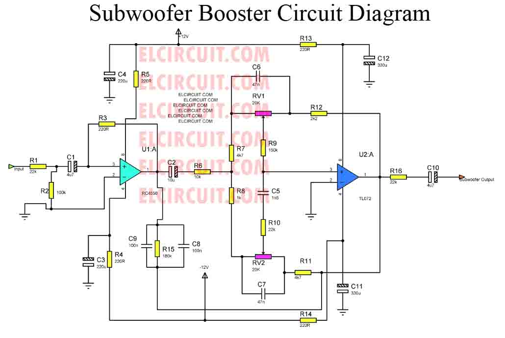 subwoofer booster circuit with pcb layout electronic circuit 4558 ic bass treble circuit diagram pdf Fire Treble
