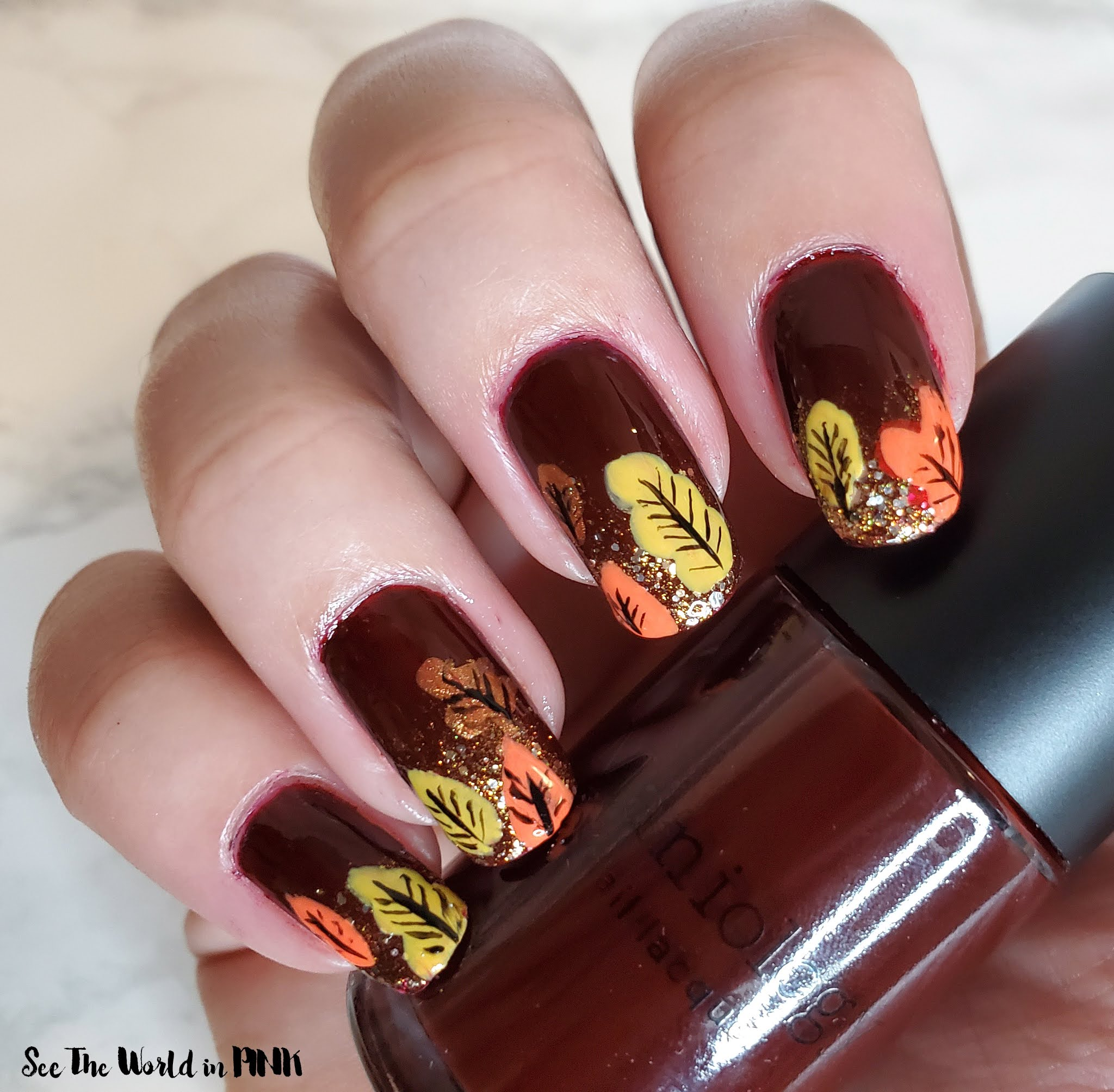 Manicure Monday - Fall Leaf Nail Art