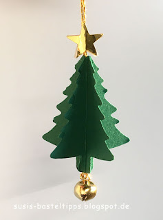weihnachtlicher geschenkanhaenger mit stampin up stanze nadelbaum weihnachtsbaum christbaum tannenbaum schelle gloeckchen geschenk verpackung gold gruen produkte bestellen in coburg demonstratorin