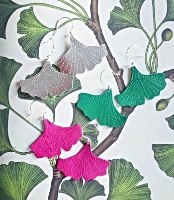 Leather gingkgo leaf earrings in metallic silver, green, and pink