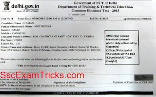 Delhi CET Admit Card 2016