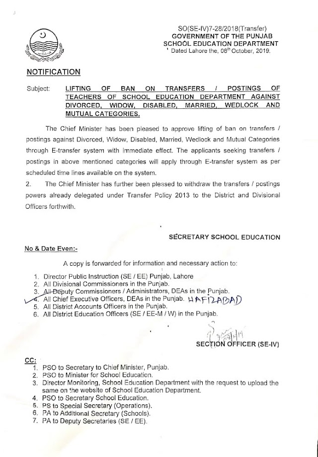 LIFTING OF BAN ON TRANSFER & POSTINGS OF TEACHERS OF SCHOOL EDUCATION DEPARTMENT OF PARTICULAR CATEGORIES