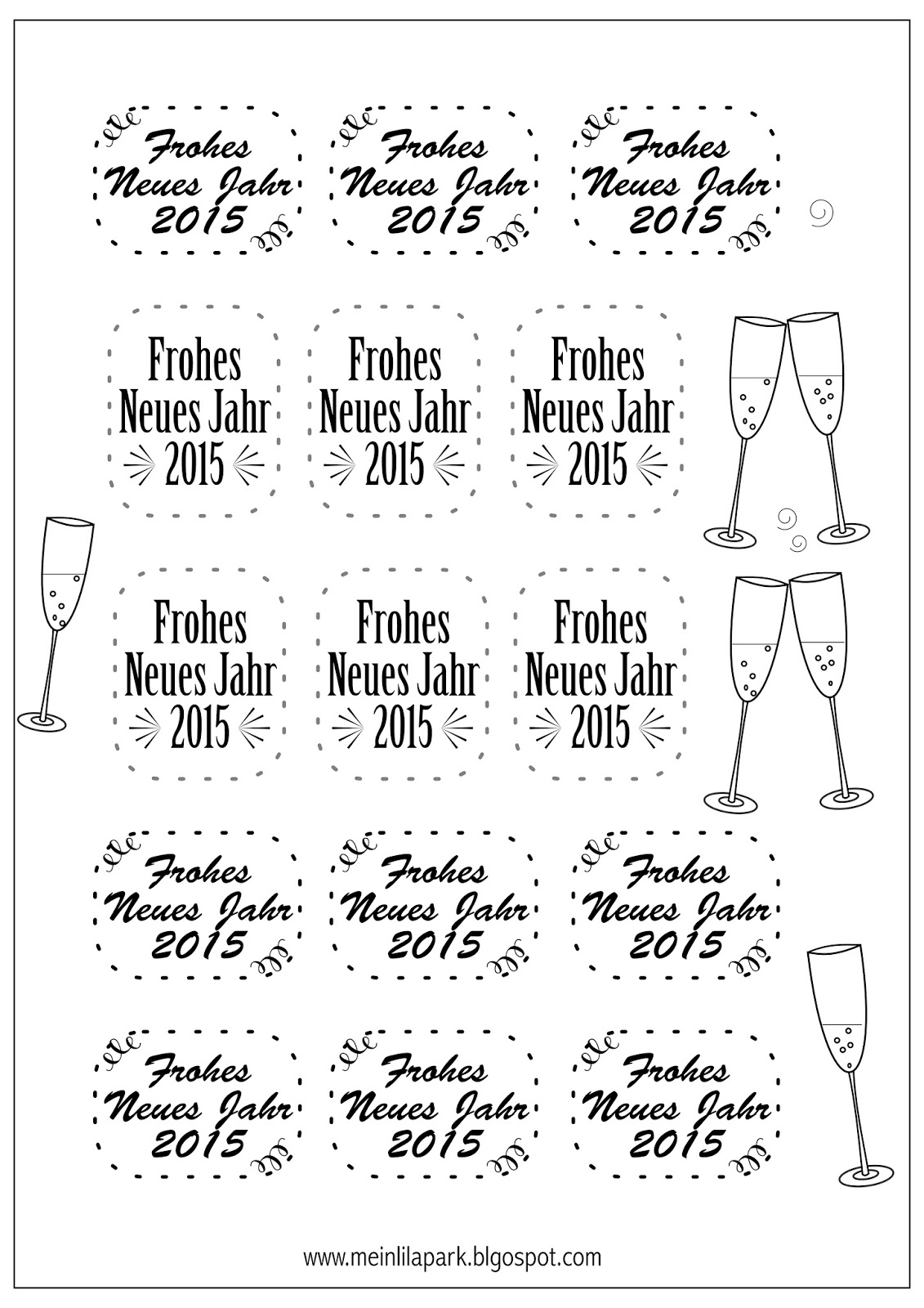 Free printable New Year's Eve tags   Silvester 2015 Druckvorlage