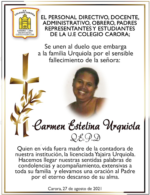 OBITUARIO: Carmen Estelina Urquiola