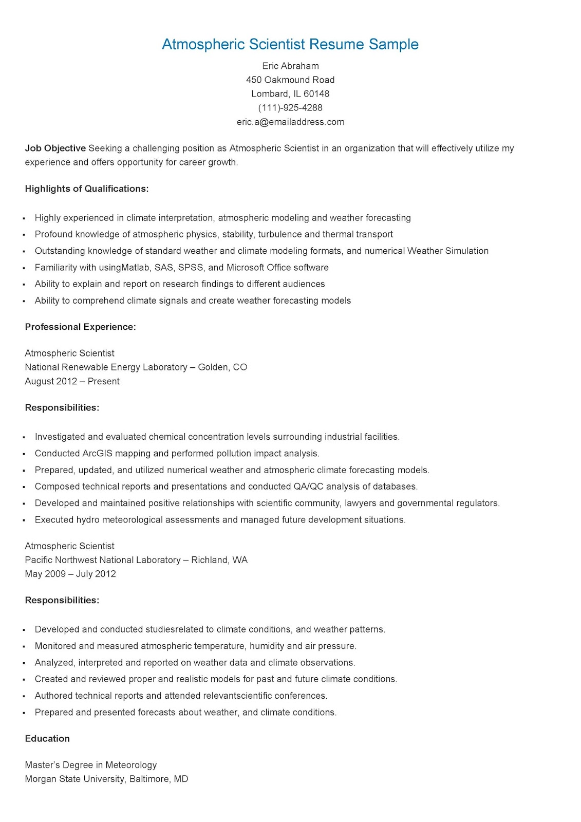 Resume Samples Atmospheric Scientist Resume Sample