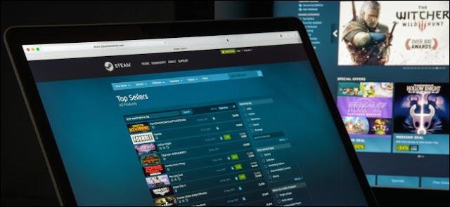 متجر ستيم على جهاز كمبيوتر محمول وسطح المكتب.