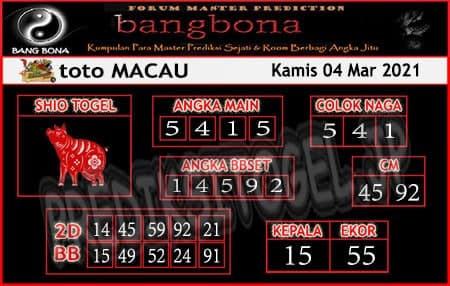 Prediksi Bangbona Toto Macau Kamis 04 Maret 2021