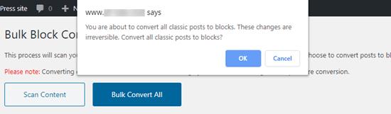 Bulk conversion warning