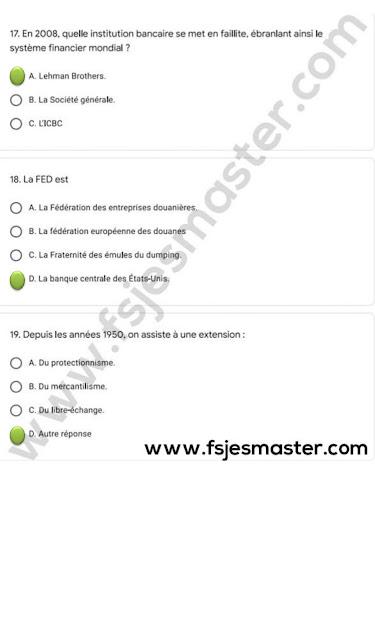 Correction du Concours Master Sciences de Gestion 2020-2021 - Fsjes Agdal