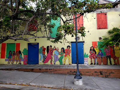 Colourful mural on of people dancing