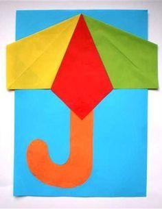 Manualidad para niños paraguas con papel glacé de colores