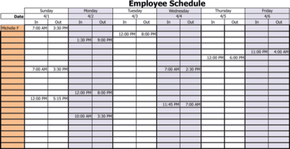blank weekly schedule template word