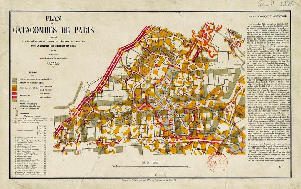 Plan des Catacombes de Paris, 1857