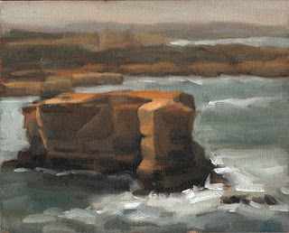 Landscape oil painting of a coastal limestone stack.