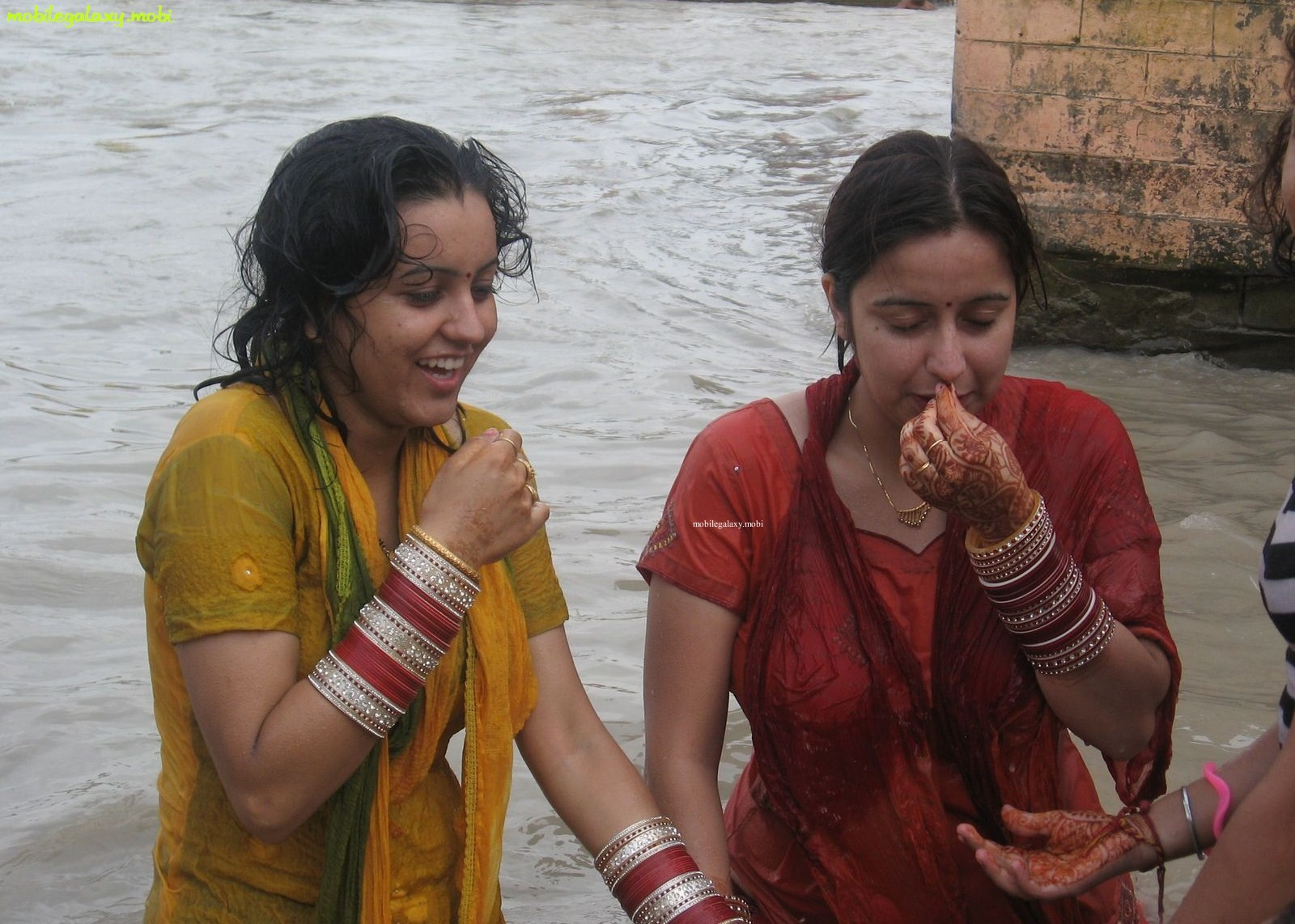 Indian Aunty Bathing In River