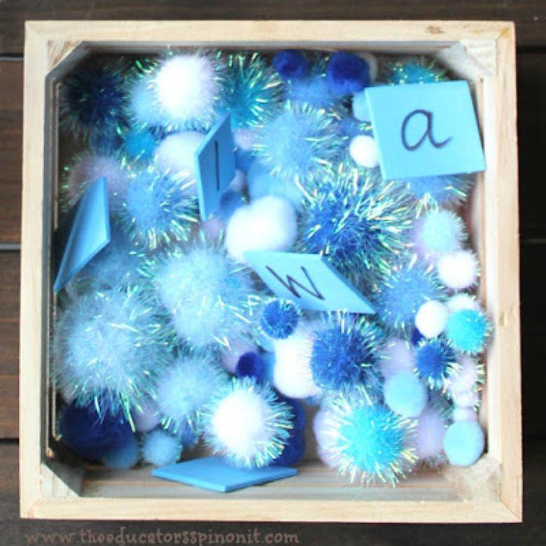 winter alphabet sensory bin winter activity for preschoolers.