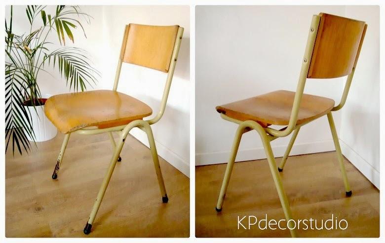 Decorar con sillas vintage de colegio metal madera