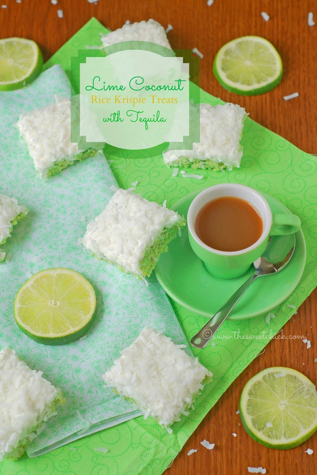 Lime Coconut Rice Krispei Treats with Tequila - The Sweet Chick